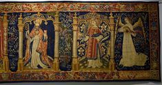 Tapestry made in Arras or Flandre, 1500-15 to 15th century cartoons, wool and silk. This tapestry features the Annunciation and four saints. Here is a detail with Saint Augustinus and Saint Stephen, and an angel. From the cycle formerly in Santa Maria degli Angeli in Murano. Now in Museo Correr in Venice ( Italy ). Giovanni Bellini, Pieter Bruegel The Elder, Medieval Tapestry, Saint Stephen, 15th Century, Santa Maria, Venice Italy, African Art, Mythology