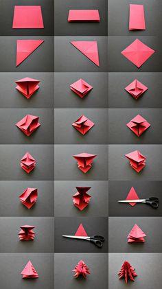 Trendy Ideas For Origami Christmas Decorations Tutorials Diy Crafts Diy Origami, Origami Tree, Origami Christmas Tree, Origami Tutorial, Noel Christmas, Christmas Ornaments, Origami Ornaments, Origami Templates, Origami Folding