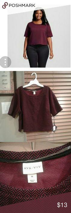 Ava and Viv plus size crop shirt Size 1XL Black and Cherry crop top, never worn, perfect length. Ava & Viv Tops Crop Tops