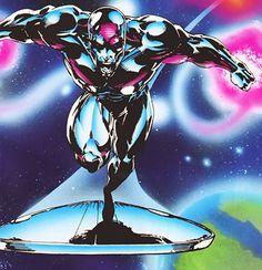 Silver Surfer (Marvel Comics) near a terrestrial planet Comic Book Heroes, Comic Books Art, Comic Art, Comics Love, Marvel Comics Art, Silver Surfer Comic, Fantasy Comics, Comic Drawing, Comic Pictures