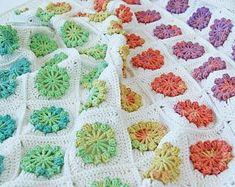 CROCHET PATTERN: teddy bear crochet baby blanket pattern and step-by-step tutorial, Häkelanleitung, baby afghan Baby Afghan Crochet, Granny Square Crochet Pattern, Crochet Chart, Crochet Blanket Patterns, Free Crochet, Crochet Squares, Crochet Blankets, Crochet Granny, Baby Blankets