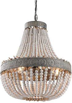 Kitchen Ceiling Lights, Kitchen Lighting Fixtures, Ceiling Light Fixtures, Ceiling Lamp, Rustic Master Bathroom, Master Bedroom, Wood Bead Chandelier, Chandeliers, Handmade Lamps