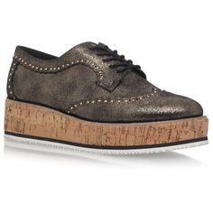 KG Kurt Geiger Kazam Metallic Flatform Brogues ($155) ❤ liked on Polyvore featuring shoes, oxfords, brogue shoes, flatform shoes, flatform oxfords, kg kurt geiger shoes and metallic oxfords