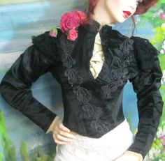 ANTIQUE Victorian SILK top JACKET corset BEAD-WORK cotton LACE organdy TRIM 1880 #Antique