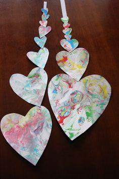 marbleized hearts   (need shaving cream, baking sheet, paper/thin cardboard, food colouring)