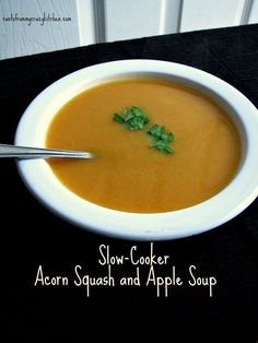 Slow-Cooker Acorn Squash and Apple Soup-Savory acorn squash and sweet apples blended together with a creamy finish, made completely in the slow-cooker. #SundaySupper