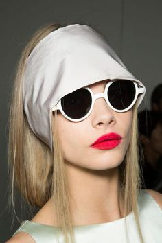 Cara Delevingne backstage at Rochas, Spring 2013 White Sunglasses