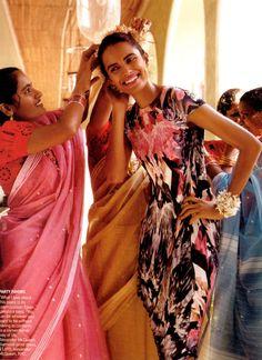 Lakshmi Menon in India wearing McQueen for Vogue US 2009