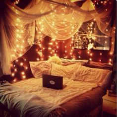 Anyone else think today should be Look at this bedroom inspiration bed DIY cosy room decor room ideas girly bedroom wedreambedrooms Cosy Room, Cozy Bedroom, Bedroom Decor, Decor Room, Light Bedroom, Fall Bedroom, Magical Bedroom, Light Canopy, Christmas Bedroom