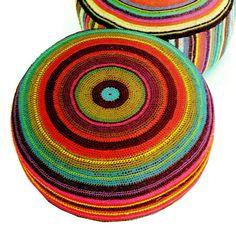 Vintage 70s LARGE Floor Pillow  PDF Crochet by KinsieWoolShop, $3.20