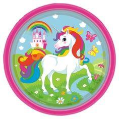 Rainbow Unicorn Party Plates