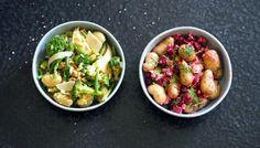 To friske potetsalater Fruit Salad, Pesto, Sprouts, Tapas, Potato Salad, Potatoes, Vegetables, Ethnic Recipes, Food