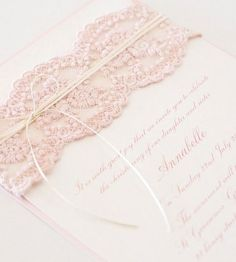Pink Lace Christening Invite