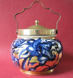 Blue & White Pottery Biscuit Barrel English W Wood & Co Staffordshire…