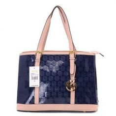 """Michael Kors Amangasett Straw Large Blue Totes Outlet Size:14"""" x 11"""" x 5 -Signature leather -Golden hardware -Hanging logo charm -Double handles; top zip closure -Fabric lining -Inside zip, cell phone and multifunction pockets -Flat bottom with feet to protect bag when set down"""