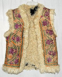 Rare Heavily Embroidered Fur Lined 60s Hippie Vest by LolaAndBlack, sold