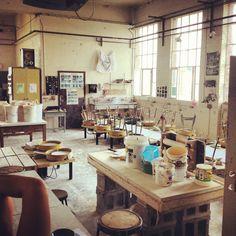 So cozy :)  Pottery studio at Radford University.