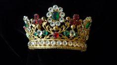 Splendid antique French ormolu jeweled crown / tiara paste stones