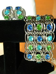 Classy Vintage Rhinestone Bracelet Earring Set by MartiniMermaid, $195.00