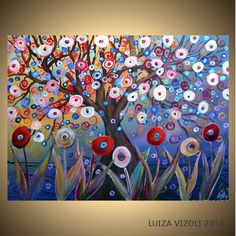 MAGIC GARDEN Original Fantasy Landscape Trees Flowers Whimsical Painting on Large Gallery Canvas CUSTOM 40x30 by LUIZAVIZOLI on Etsy https://www.etsy.com/listing/48923112/magic-garden-original-fantasy-landscape