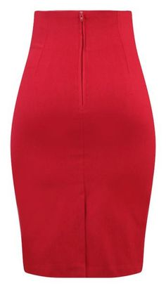 This high waisted pin up style pencil skirt is just divine! High quality bengaline stretch fabrication and retro inspired buttons in front makes this the perfec