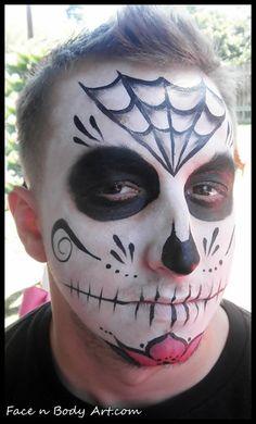 Shawna D. Make-up: Dia De Los Muertos Sugar skulls 2012 Sugar Skull Face Paint, Sugar Skull Makeup, Sugar Skulls, Dead Makeup, Scary Makeup, Halloween Face Makeup, Halloween Men, Diy Halloween Costumes, Family Halloween