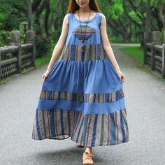 Women Ethnic Sleeveless Printing Pleated Pockets Dress