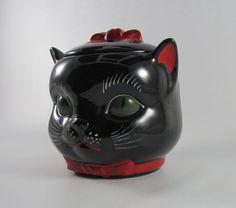 Vintage 50's Shafford Black Cat Cookie Jar by OlgasAttic on Etsy, $125.00