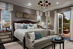 Contemporary Master Bedroom with French doors, Hardwood floors, Uttermost Jayne Accent Chest, Chandelier, Crown molding