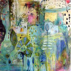 "annie lockhart ... 'in the garden' 4'x4'x2"" ... acrylic on canvas https://www.facebook.com/AnnieLockartSoulfulPainting?ref=hl"