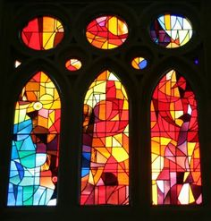 stained glass at La Sagrada Familia; this would make a great art quilt