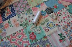 """Patchwork using vintage fabric and embroider fabric. Beautiful! HenHouse: A Pleasant Day's """"Work"""""""