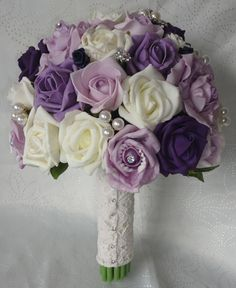 plum and ivory bridal bouquet | Wedding Bouquet in shades of dusky aubergine, lilacs, plum and Ivory .