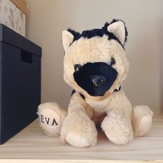 For our girl Eva. Did she need her name on a stuffed dog? No. Did I do it anyways? Absolutely!  #talbotandsuede #londonontario #ldnont  #canadian #canadianmade #handmade #handmadegifts #dogs #dogtoys #customdogtoys