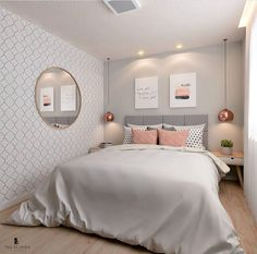 20 inspirations pour aménager et décorer toutes les petites chambres Girl Bedroom Designs, Room Ideas Bedroom, Small Room Bedroom, Home Decor Bedroom, Master Bedroom, Long Bedroom Ideas, Small Apartment Bedrooms, Warm Bedroom, Bedroom Art