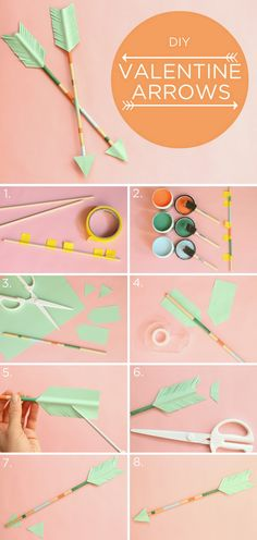 DIY Decorative Arrows Valentine's Day Arrows! Perfect way to top off a Valentine's Day gift, or plop in a mason jar for a table-topper. Change up the paper color scheme, and you have the perfect Hunger Games-themed party decoration. Valentines Bricolage, Valentine Day Crafts, Valentine Decorations, Be My Valentine, Holiday Crafts, Diy For Valentines Day, Valentine Ideas, Birthday Decorations, Diy And Crafts