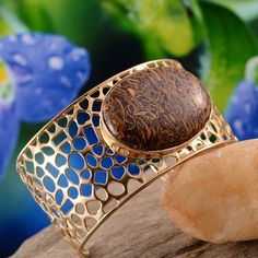 Indian Script Stone Cuff in 14K Yellow Gold Overlay Sterling Silver (Nickel Free)