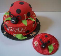 Ladybug Birthday Cake and Smash Cake @Barb Entz - you bake them in a bowl!  Genius!