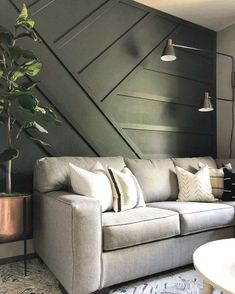 board and batten siding Board and batten accent wall Interior, Accent Walls In Living Room, Home Remodeling, Home Decor, House Interior, Living Room Wall, Bedroom Wall, Home And Living, Living Room Designs