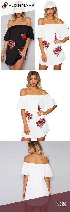 Off Shoulder Floral Mini Dress Off Shoulder Floral Patch Mini Dress. Available in Black and white. Unlined. Made of poly/ cotton blends. Runs small. Choose size and color at checkout B Chic Boutique Dresses