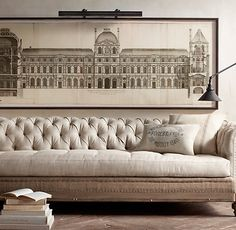 Circa 1756 Elevation of the Louvre from Restoration Hardware. Shop more products from Restoration Hardware on Wanelo. Rustic Artwork, Diy Artwork, Framed Artwork, Louvre, Living Comedor, Banquettes, Tufted Sofa, My New Room, Architecture