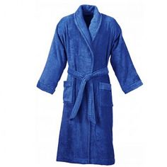 #BATHROBES IN ROYAL BLUE COTTON TERRY - comfortable to wear and provides 2 deep pockets and wide sleeves