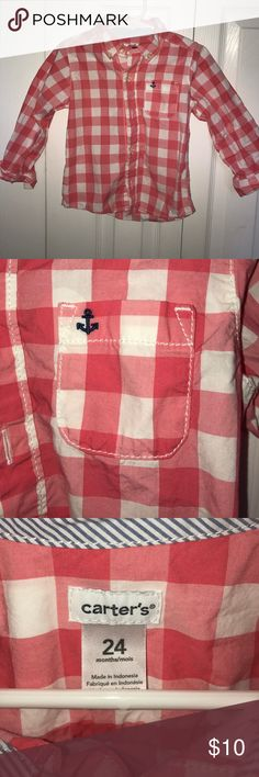 Carters button down shirt - 24months 100%cotton button down shirt.m from Carters. Fits size18-24months. Pink/white buffalo check with anchor detail on pocket. In excellent condition. Carter's Shirts & Tops Button Down Shirts