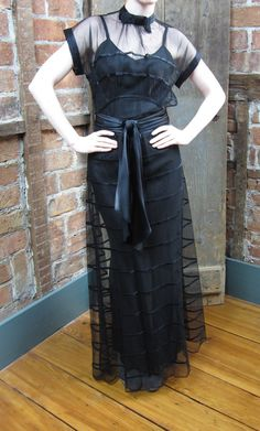 Vintage 1930's Black Netted Lace Gown OLD Hollywood Glam Greta Garbo Tres Chic Wedding 36JJ. $475.00, via Etsy.