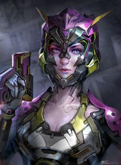 Small gun girl, jeremy chong on ArtStation at https://www.artstation.com/artwork/o01nJ