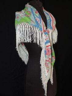 boho patchwork fringe shawl vintage hankie print festival fashion fringed hippie cape