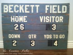Football Scoreboard pallet wood sign by TheCreativePallet on Etsy, $120.00