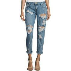 One Teaspoon Awesome Baggies Jeans ($64) ❤ liked on Polyvore featuring jeans, cobain, destroyed boyfriend jeans, destructed boyfriend jeans, distressed boyfriend jeans, relaxed fit boyfriend jeans and blue ripped jeans