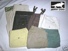 HELP SAVE ENDANGERED MOUNTAIN GORILLAS!     7 ITEM MIXED LOT: Women's Horny Toad Short Shorts, Cargo Shorts + Capri Pants     Women's Size: 8-9     Uses: Casual Hike Trail