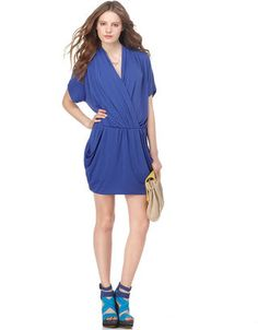 ShopStyle: RACHEL Rachel Roy Dress, 24 Hour Surplice V Neck Short Sleeve Ruched Draped...its cuter if you wear it cose to your body not this big...i suggest an up-do and huge statement earrings...summer dinner party fun #pow